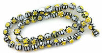 8mm  Black White Yellow Flower Lampwork Glass Bead Strand 15 Inch 8mmGB4