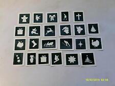 40 x Christmas theme mini stencils for glitter tattoos / airbrush   santa snow