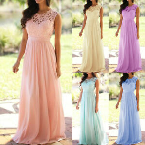 Womens Lace Formal Maxi Dress Evening Party Wedding Bridesmaid Ball Gown Dress