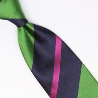 John G Hardy Mens Silk Necktie Large Scale Regimental Stripe Green Blue Pink Tie