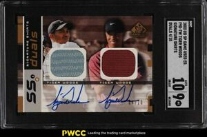 2003 SP Game Used Signature Shirts Duals Tiger Woods PATCH AUTO /10 SGC 9 MINT