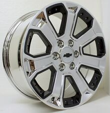 New 22 Inch Chevy Silverado Z71 Tahoe Suburban Chrome with Black Inserts Wheels