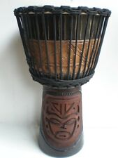 Djembe drum 60cm tall deep carved pro quality mahogany wood tribal face