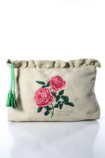 Isabella Fiore Beige Canvas Floral Embroidered Pouch Clutch Handbag