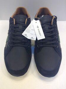Lacoste Men 10 US Alisos 20 Leather Casual Sneaker Black $145 NIB New 7-28SRM
