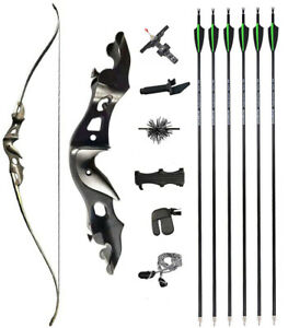 "58"" Takedown Recurve Bow Arrows Kit 20-55lbs Aluminum Archery Fishing Hunting"