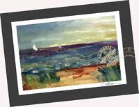 Sail Boat at Seas ORIGINAL OIL PAINTING print Seascape Landscape Impressionist