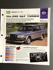 "1981 - 1986 VOLVO 240 GLT Turbo Wagon IMP ""Hot Cars"" Spec Sheet Folder Brochure"