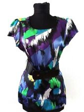 Star Julien McDonald Womens Blouse with Stretch Belt Spotted Size 8 S Cap Sleeve