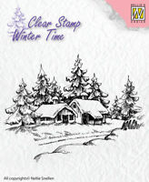 Nellie Snellen Winter Clear Stamp Pine Trees with Cabin Scene River Bridge