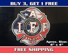 "IAFF 4"" Sticker - American Flag Fire Fighter Maltese Cross Sticker Decal"