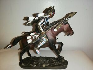 Spirit Of The planes By Chuck Ren Painted Bronze Native American Indian...