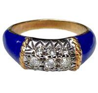 18K Yellow White Gold Diamond Navy Blue Enamel VCA Style Horizontal Stack Ring