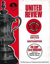 Football Programme>MAN UTD v SOUTHAMPTON Jan 1972 FAC