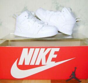 NIKE AIR JORDAN 1 Mid TD TRIPLE WHITE Size 8 C Retro Shoes 640735-130 FAST SHIP!