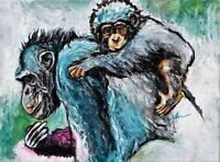 Blue Chimpanzee - on Canvas - Paris Collection - African Ape Animal Art 16X20