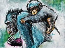 Blue Chimpanzee - on Canvas - Paris Collection - African Ape Animal Art 16X20