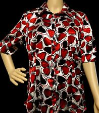 Blue Diamond  Red and white Polyester Button Down Front Blouse Size L