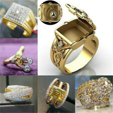 Women 18K Yellow Gold Filled White Sapphire Ring Wedding Gift Jewelry Size 6-13