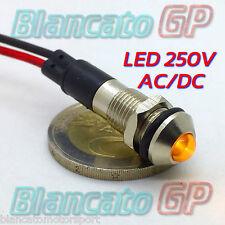 SPIA LED GIALLO 220V AC METALLO TONDO 8mm corrente alternata casa illuminazione
