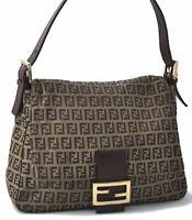 Authentic FENDI Zucchino Mamma Baguette Shoulder Bag Canvas Leather Brown B5117