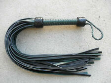 GREEN HEAVY MEGA THUDDY Grain Leather Flogger 36 Tails - Amazing Horse Whip Cat