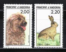 ANDORRA FRANCESA 1988 373/74 PROTECCION NATURALEZA . Fauna. Perro. Liebre 2v.