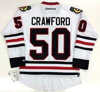 COREY CRAWFORD 2015 CHICAGO BLACKHAWKS STANLEY CUP REEBOK PREMIER WHITE JERSEY