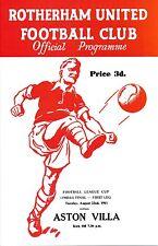 LEAGUE CUP FINAL 1961 Rotherham v Aston Villa - REPRINT