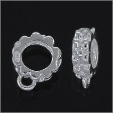 10 Sterling Silver European Bracelet Pendant Charm Cord Connector 7.8mm #97251
