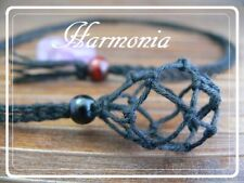 Hand Made Hemp Macrame Pouch Necklace (Interchangeable) Black / Necklace Only
