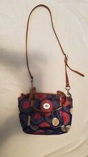COACH LEAH Blue Multicolor Sateen Brown Leather Tote Satchel Purse Bag F14730