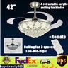 "Modern Crystal Ceiling Fan Light LED Chandelier Remote Control Ceiling Light 42"""