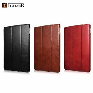 NEW Luxury ICARER GENUINE Leather Tri-Fold Stand Smart Case Cover For iPad Model