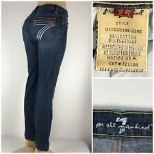 7 for All Mankind Dojo Womens 25 Jeans Straight Blue Cotton Blend Stretch DOJO