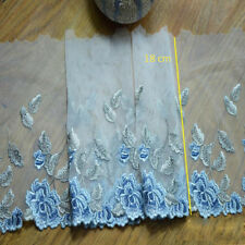 "Blue Embroidery Lace Trim 7"" Bridal Lace Edging Corded Wedding Lace Fabric 1 M"