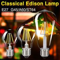 E27 4/8/12/16W Edison Retro Filament COB LED Bulb Vintage Cool/Warm Light Lamp