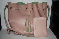 Large Steve Madden Pink & Mint Green Tassel Shoulder Bag w/ Change /Accessories