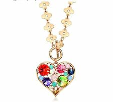 18K Rose Gold F Heart Necklace Made With Swarovski Crystals Bridal Jewellery