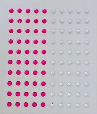 100 x 5mm Adhesive-Stick On Rhinestones/Jewels/Crystals - Clear & Hot Pink