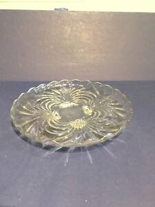 """Vintage Glass Platter Scallop Edges Pedestal Feet  14"""" Diameter !2"""" High"""