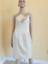 EVAN PICONE gold ruffle one shoulder party dress size 6