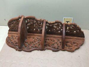 India Carved Wood Folding Corner Shelf Floral Hard Wood Brown Vintage