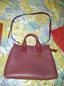 NEW MICHAEL KORS ROLLINS MEDIUM PYTHON EMBOSSED LEATHER GOLD OXBLOOD W/DUST COVE