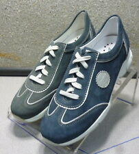 YAMINA BLUE LMDF30 Women's Shoes Size 7.5 Eur 5 Suede Lace up  Mephisto