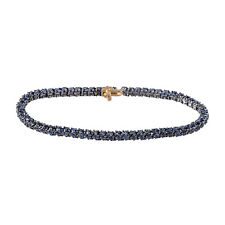 14K Yellow Gold Blue Sapphire Tennis Bracelet 925 Silver Gemstone Jewelry
