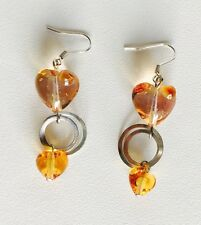 Antica Murrina Glace--Murano Glass And Sterling Silver Long Heart Earrings