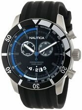 NEW Nautica N17583G NSR 08 Sporty Black Resin Blue Accent Chronograph Mens Watch