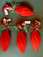 Hallmark Set of 4 Red Felt Country Christmas Tree Ornaments Decoration Pine Cone