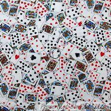 BonEful Fabric FQ Cotton Quilt Mini Sm Casino Card Game Red Heart B&W King Queen
